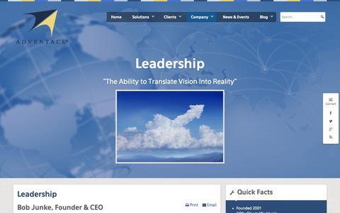 Screenshot of Team Page adventace.com - Leadership - Adventace Company - adventace.cloudaccess.net - captured Sept. 30, 2014
