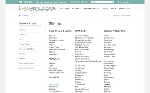 Screenshot of Site Map Page flowers.co.za - Site Map - Flowers.co.za - captured Sept. 19, 2014