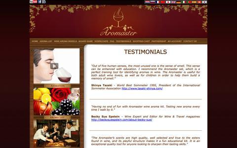 Screenshot of Testimonials Page aromaster.com - Testimonials | Aromaster - captured Oct. 4, 2014