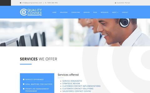 Screenshot of Services Page qualityconnex.com - Services we offer - captured Dec. 9, 2015