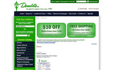Screenshot of Press Page donaldsuniform.com - Donald's Uniform :: News archive - captured Jan. 7, 2016