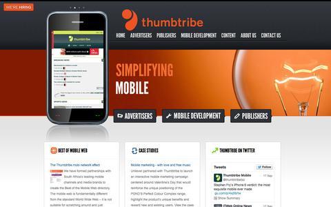 Screenshot of Home Page thumbtribe.co.za - Thumbtribe - captured Sept. 23, 2014