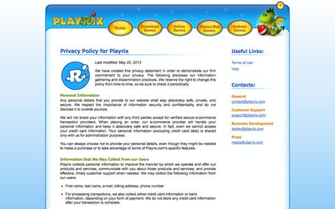 Screenshot of Privacy Page playrix.com - Privacy Policy - Playrix - captured Sept. 19, 2014