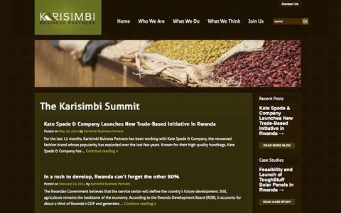 Screenshot of Blog karisimbipartners.com - The Karisimbi Summit | Karisimbi Business Partners - captured Oct. 6, 2014