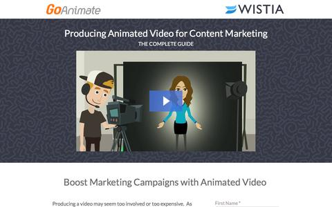 Screenshot of Landing Page goanimate.com - Producing Animated Video for Content Marketing with GoAnimate and Wistia - captured Oct. 23, 2016
