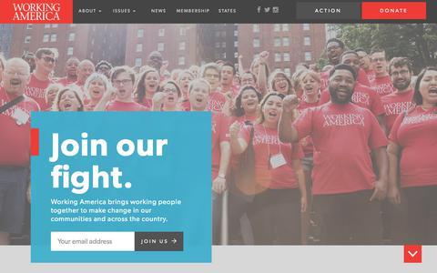 Screenshot of Home Page workingamerica.org - Home | Working America - captured June 14, 2017
