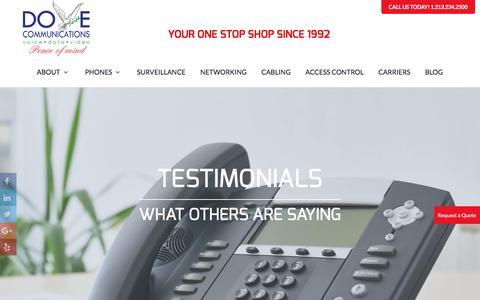 Screenshot of Testimonials Page dovecommunications.com - Testimonials | Dove Communications - captured Nov. 24, 2016