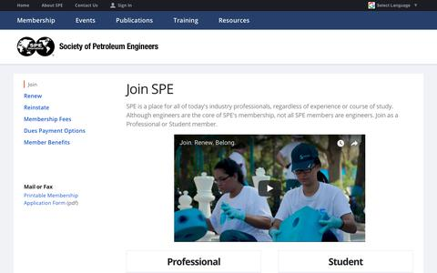 Screenshot of Signup Page spe.org - Join SPE | Society of Petroleum Engineers - captured Sept. 29, 2018