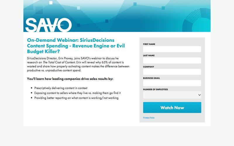 SiriusDecisions: Content Spending: Revenue Engine or Evil Budget Killer?