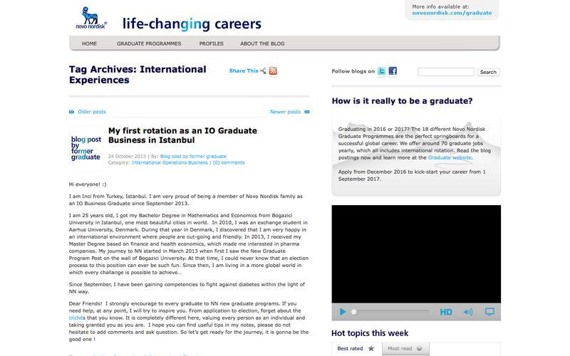 International Experiences – Graduate blog