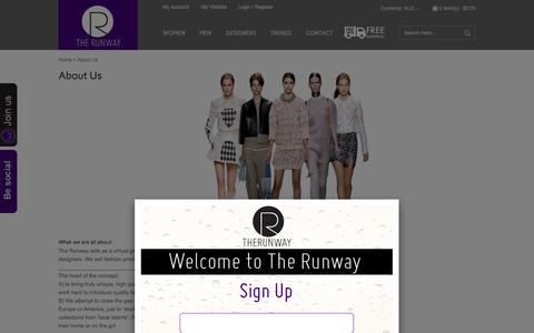 Screenshot of About Page therunway.com.au - About Us - captured Sept. 30, 2014