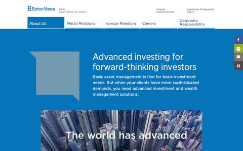 Screenshot of About Page eatonvance.com - EV is Advanced Investing | Eaton Vance - captured Feb. 28, 2019