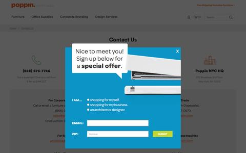 Screenshot of Contact Page poppin.com - Contact Us - captured May 9, 2017