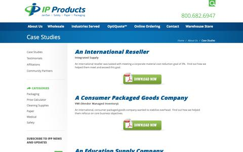 Screenshot of Case Studies Page ipproducts.com - Case Studies - Industrial Paper Products - captured Oct. 1, 2018