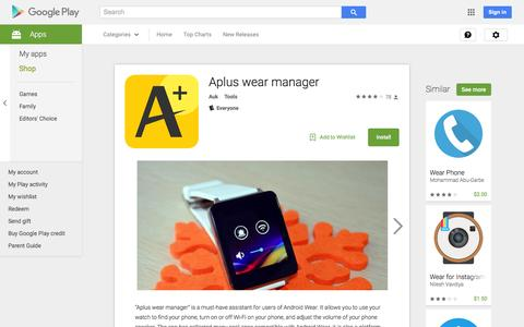 Screenshot of Android App Page google.com - Aplus wear manager - Android Apps on Google Play - captured Nov. 25, 2015