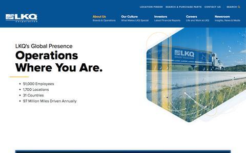 Screenshot of About Page lkqcorp.com - Global Presence - LKQ - captured Oct. 12, 2019