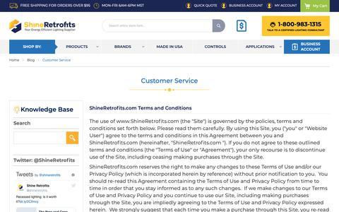 Screenshot of Support Page shineretrofits.com - Customer Service   Shine Retrofits Lighting Blog - captured April 5, 2019