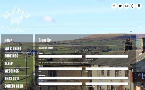 Screenshot of Signup Page fleece-inn.com - Sign Up | The Fleece Inn - Barkisland - captured Oct. 6, 2014