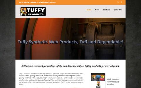 Screenshot of Home Page tuffyweb.com - Tuffy Products Tuffy synthetic web slings, round slings, chain or wire rope slings, hoists, tuggers, and other lifting products - captured Oct. 9, 2014