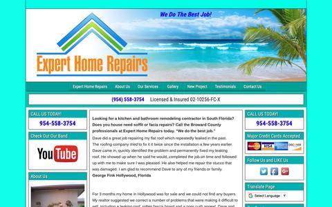 Screenshot of Testimonials Page experthomerepairs.com - Testimonials - captured Oct. 22, 2018