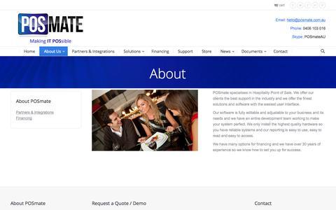Screenshot of About Page posmate.com.au - About   POSmate - captured Sept. 26, 2014