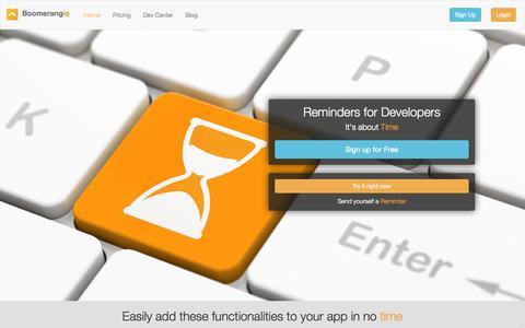 Screenshot of Home Page boomerang.io captured Dec. 13, 2014