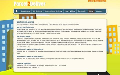 Screenshot of FAQ Page xclusiveteam.com - FAQ | Parcel2Deliver.com Limited - captured Oct. 9, 2014
