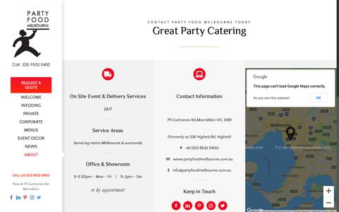 Screenshot of Contact Page partyfoodmelbourne.com - For Great Party Catering Call arty Food Melbourne Today! - captured Nov. 4, 2018