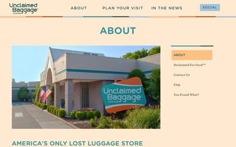 Screenshot of About Page unclaimedbaggage.com - Lost Luggage Store | Unclaimed Baggage Alabama | About - captured Nov. 4, 2014
