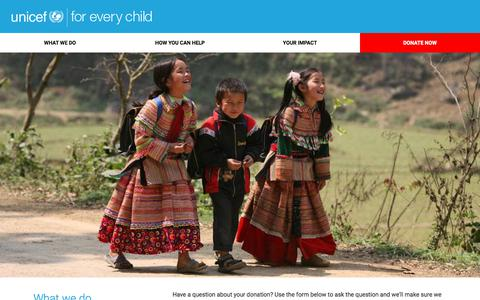Screenshot of Contact Page unicef.org - Contact us | Support UNICEF - captured Nov. 18, 2017