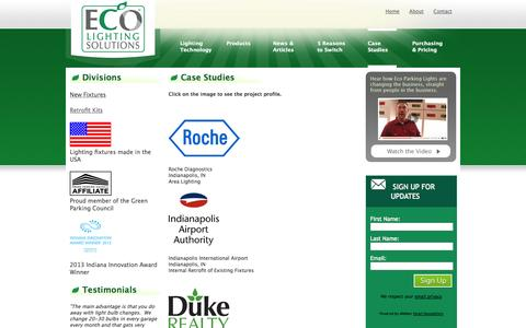 Screenshot of Case Studies Page ecolightingsolutions.com - ECO Lighting Solutions / Case Studies - captured Sept. 26, 2014