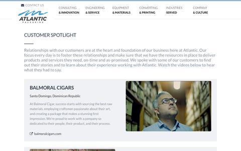 Screenshot of Testimonials Page atlanticpkg.com - Spotlight On Our Customers (Video) - Atlantic Packaging - captured Oct. 4, 2018