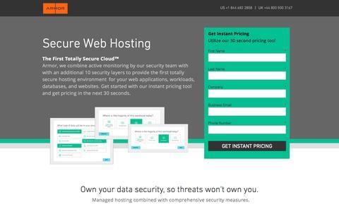 Screenshot of Landing Page armor.com - Secure Web Hosting - captured March 15, 2017