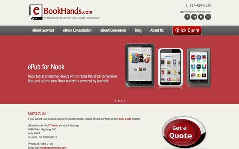 Screenshot of Contact Page ebookhands.com - Epub To Kindle Conversion, Ebook Conversion, eBookHands - eBookHands - captured Sept. 30, 2014