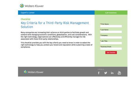 Screenshot of Landing Page datacert.com - Checklist: Key Criteria for a Third-Party Risk Management Solution - captured Aug. 17, 2016