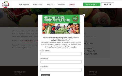 Screenshot of Contact Page theproducebox.com - Contact The Produce Box | Organic Food Delivery North Carolina - captured Aug. 14, 2019