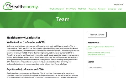 Screenshot of Team Page healthonomy.com - Team - Healthonomy - captured June 16, 2015
