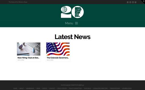 Screenshot of Press Page club20.org - News | Club 20 - captured July 14, 2018