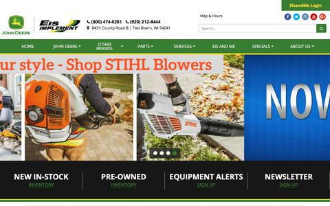 Screenshot of Home Page eisimplementinc.com - Home Eis Implement Two Rivers, WI (800) 474-0281 - captured July 16, 2018