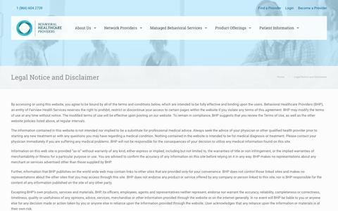 Screenshot of Terms Page bhpcare.com - Patient Information - Find the Right Provider with BHP - captured Oct. 10, 2017