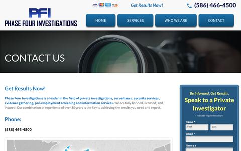 Screenshot of Contact Page phase4inv.com - Contact Phase Four Investigations - Michigan Private Investigator - captured Sept. 27, 2018