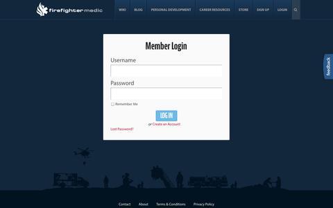 Screenshot of Login Page firefightermedic.com - Login - FirefighterMedic - captured Oct. 6, 2014