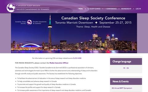 Screenshot of Home Page Menu Page css-scs.ca - Welcome - The Canadian Sleep Society (CSS) / Société Canadienne du Sommeil (SCS) - captured Oct. 1, 2014