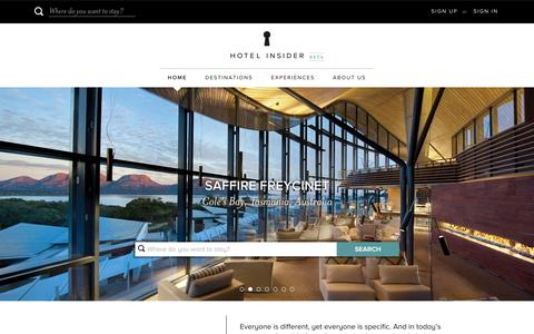 Screenshot of Home Page hotelinsider.com - Hotel Insider - Luxury Hotels and Resorts - captured Nov. 6, 2015