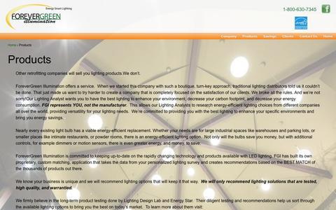 Screenshot of Products Page fgillumination.com - Products | FGIllumination - captured Oct. 6, 2014