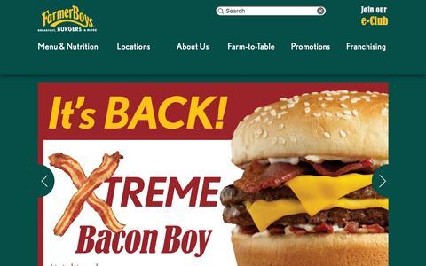 Screenshot of Home Page farmerboys.com - Farmer Boys | Breakfast, Burgers and More - captured Dec. 11, 2015