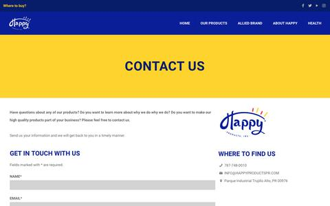 Screenshot of Contact Page happyproductspr.com - Contact Us – Happy Products - captured Sept. 27, 2018