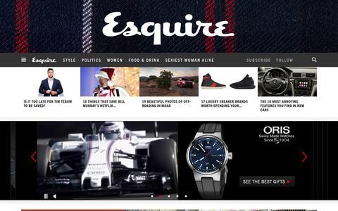Screenshot of Home Page esquire.com - Esquire - Men's Fashion, Cocktails, Politics, Interviews, and Women - captured Dec. 7, 2015