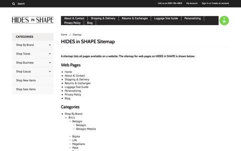 Screenshot of Site Map Page hidesinshape.com - HIDES in SHAPE Sitemap - captured July 9, 2016