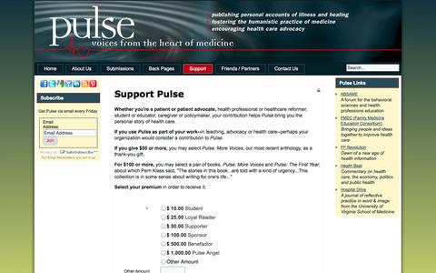 Screenshot of Support Page pulsevoices.org - Support Pulse - captured Oct. 27, 2014